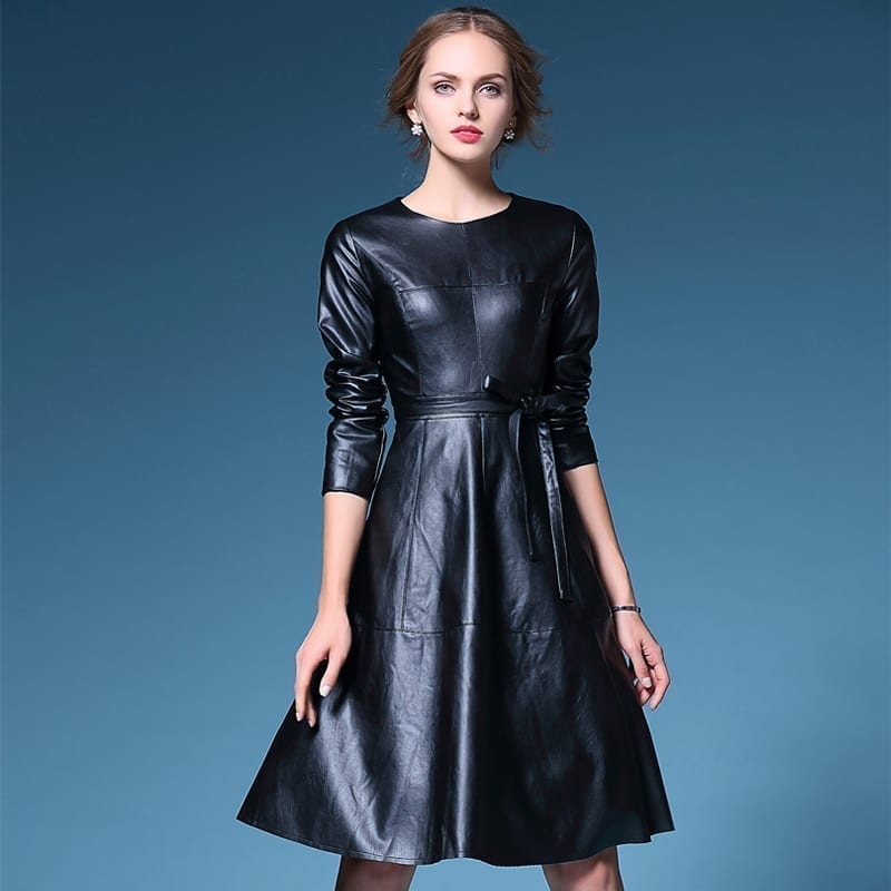 Long Sleeve Leather Dress Uniqistic Com