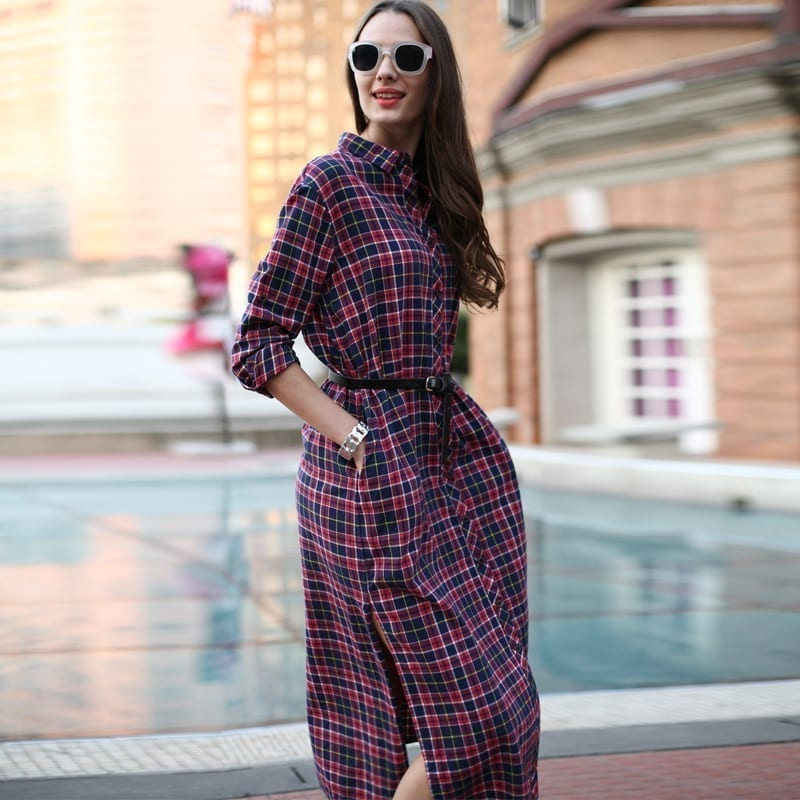 Long Plaid Shirt Dress