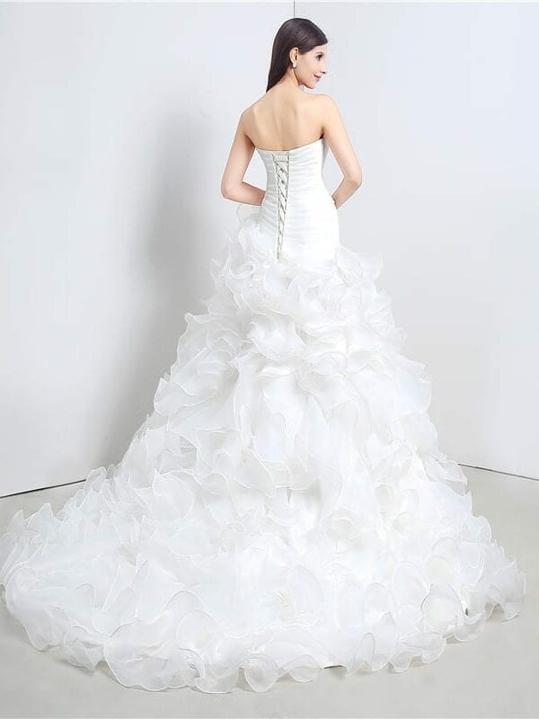 Sweetheart Cascading Ruffles Mermaid Wedding Dress
