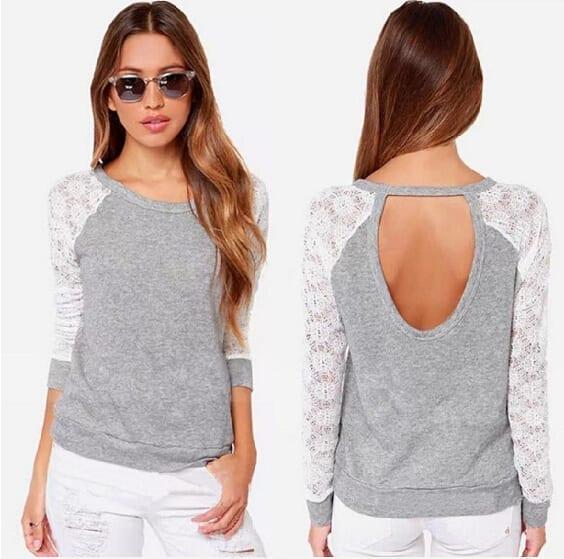 Long Sleeve Lace Crochet T-shirt