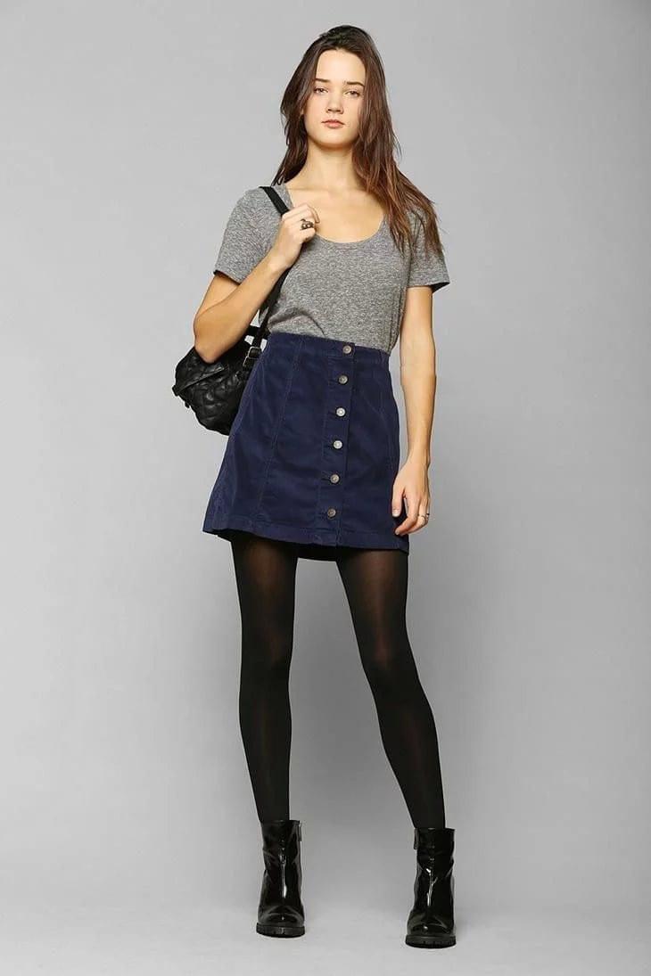 Petite Vintage Corduroy Button Front A-Line Skirt - Uniqistic.com
