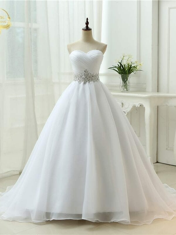 A Line Perfect Belt Strapless Lace Up Wedding Dress