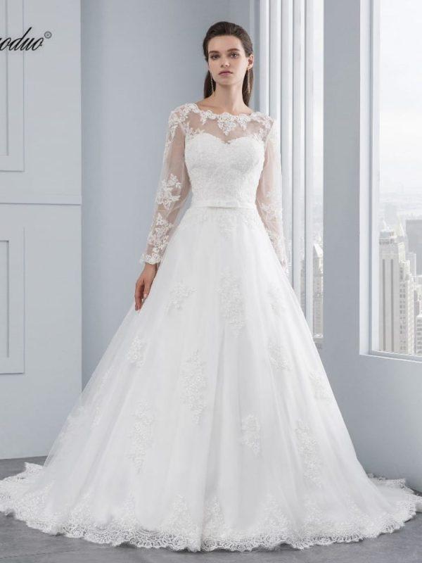 Appliques Luxury Lace Long Sleeve Wedding Dress