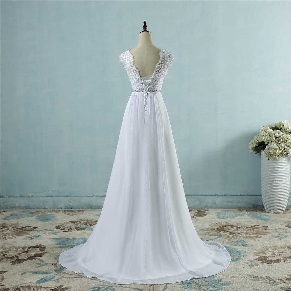 Beach crystal lace applique simple wedding dress for Shop simple wedding dresses