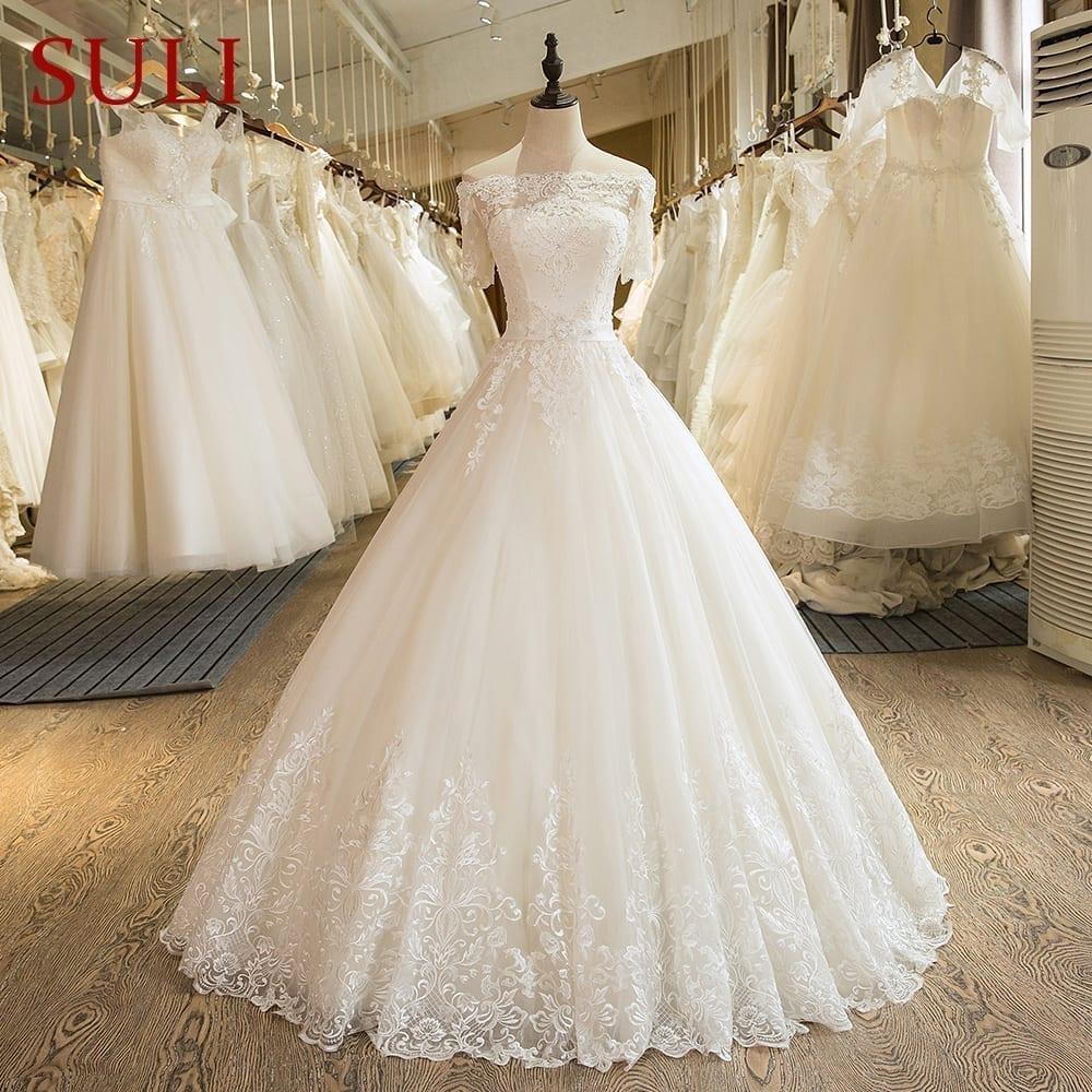 A Line Short Sleeve Tulle Lace Romantic Wedding Dress