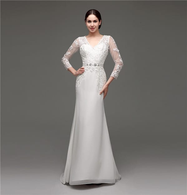 Floor-length V-neck Lace Chiffon Full Sleeves Wedding Dress