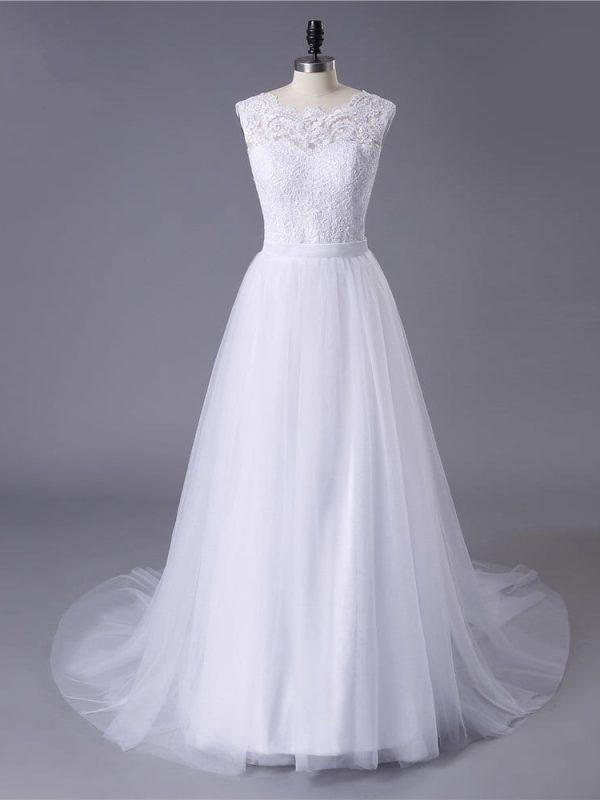 Lace Tulle O-neck A-line Boho Beach Wedding Dress