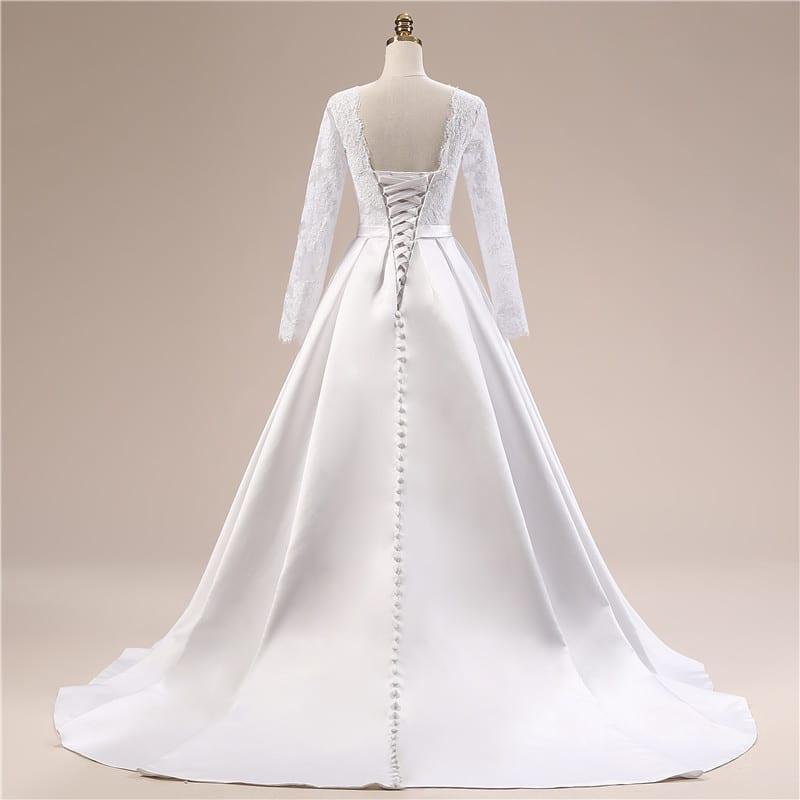 Simple Long White Dress With Sleeves Naf Dresses: Elegant Simple Long Sleeve Wedding Dress