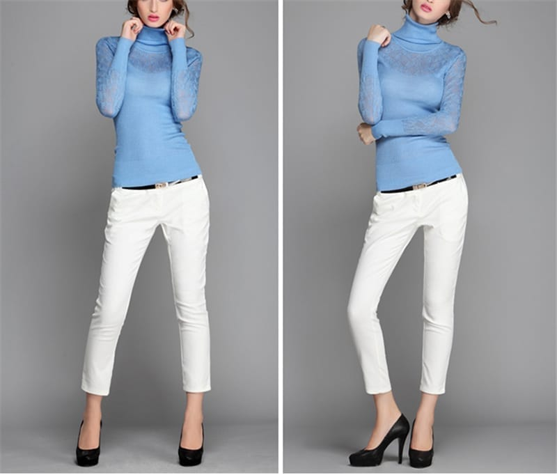 Elegant Candy Color Slim Long Sleeve Pullovers