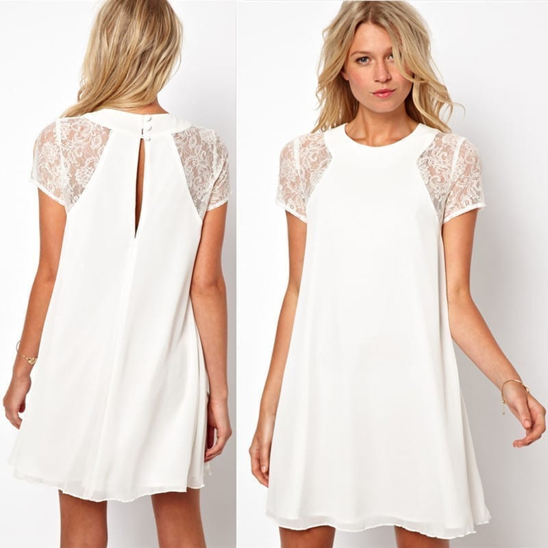 A-line Lace Chiffon Sleeve Patchwork Dress