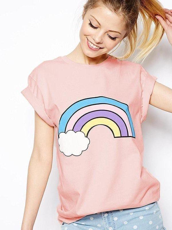Rainbow Print Cotton Cute Pink T-shirt