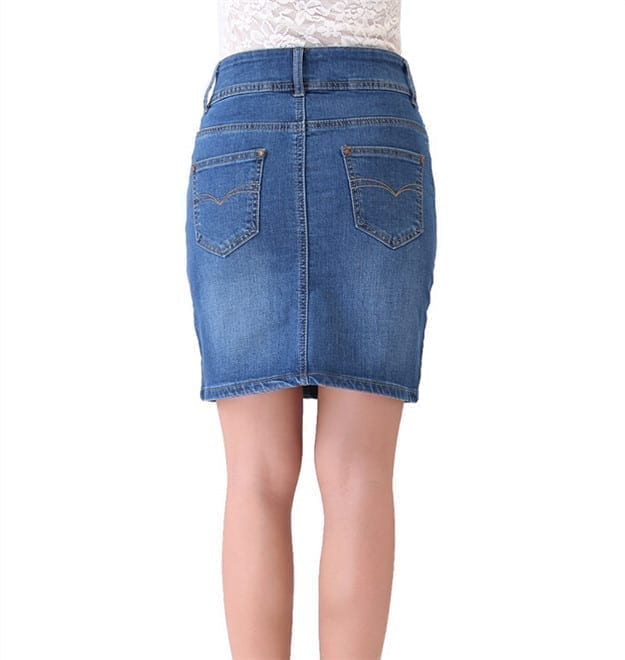 Denim Long Jean Pencil Skirt