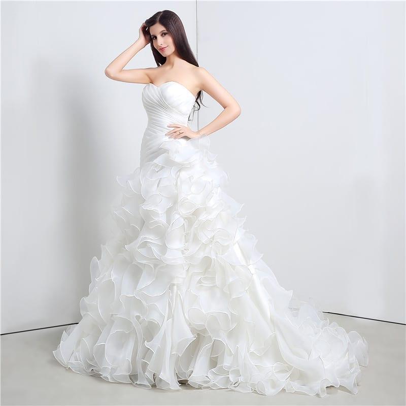 Sweetheart Cascading Ruffles Mermaid Wedding Dress
