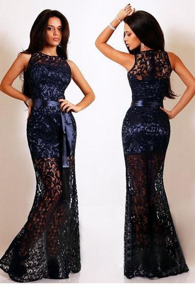 Lace Satin Patchwork Maxi Party Dress