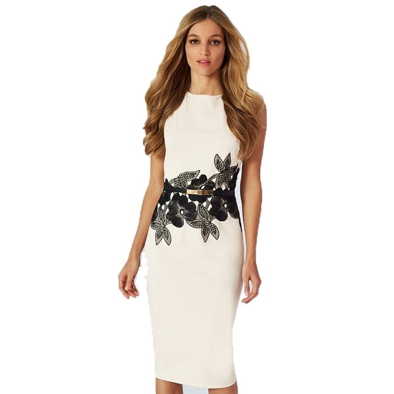 Floral Waistband Elegant Dress