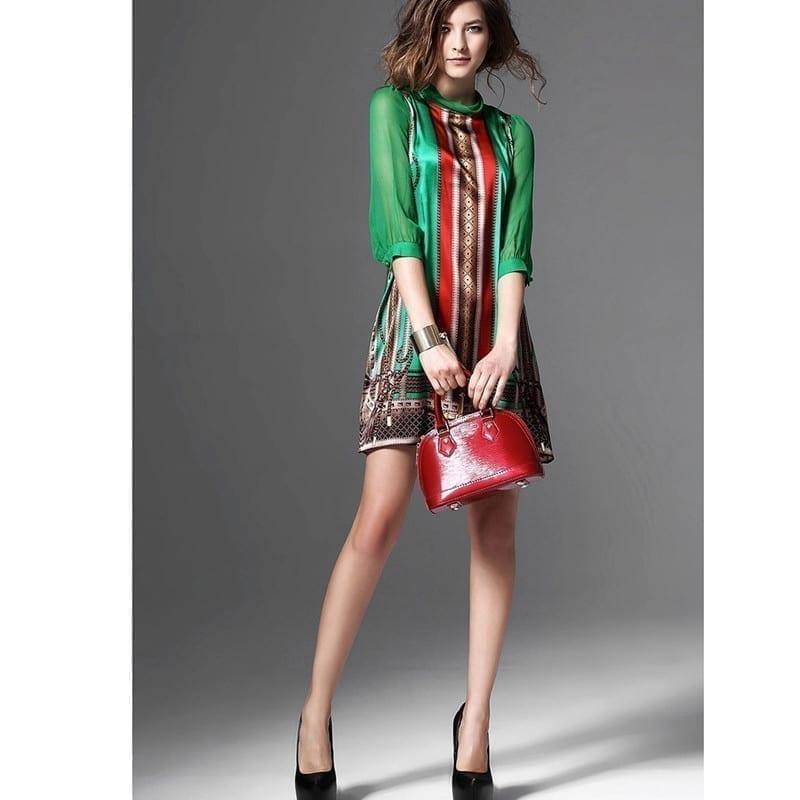 Elegant Vintage Pattern Green Print Dress