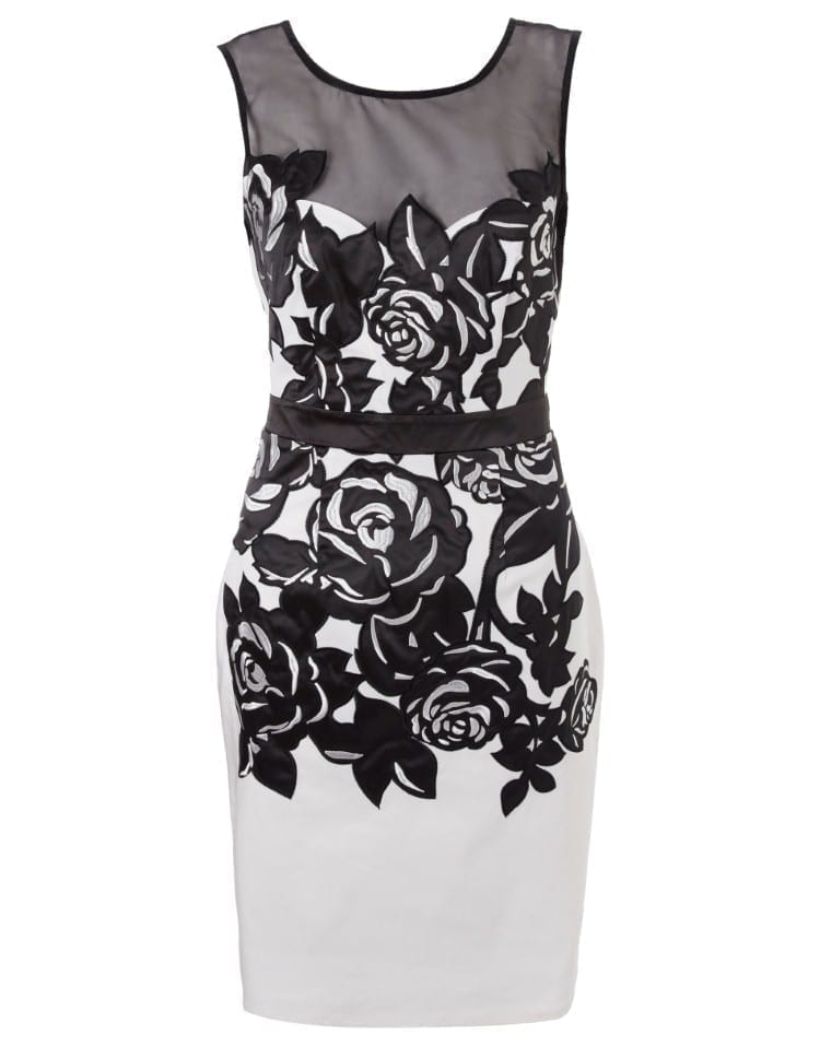 Mesh sleeveless white and black backless slim pencil embroidery dress 2