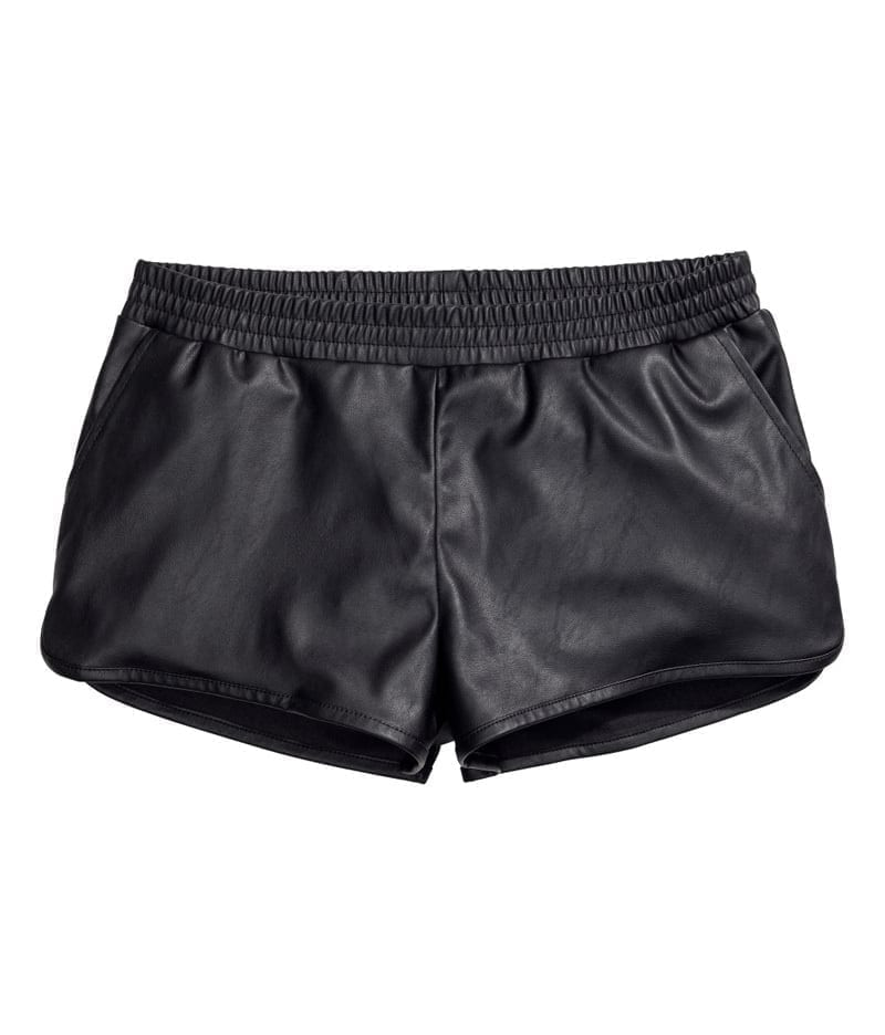 Pu Leather Solid Slim High Waist Shorts
