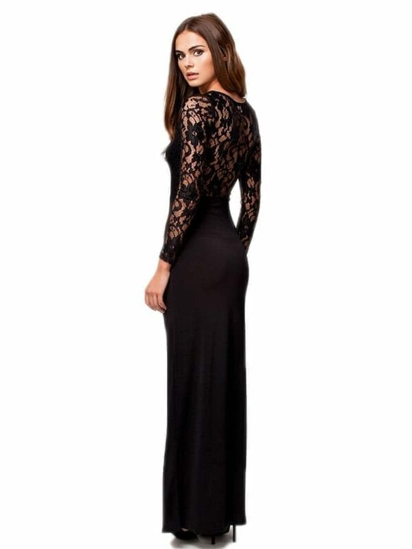 O-neck Long Sleeve Floor Length Party Dress