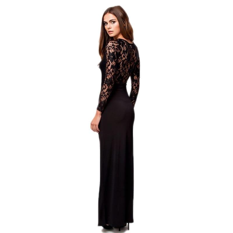 O-neck Long Sleeve Floor Length Party Dress