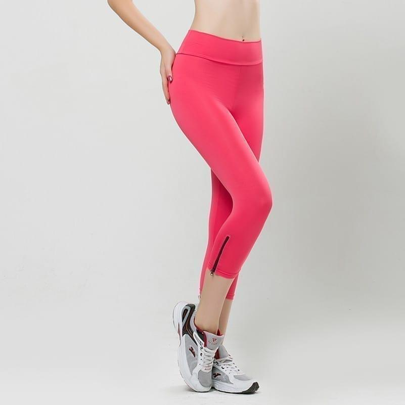 High Waist Pencil Candy Color Sport Leggings With Zipper