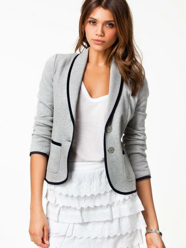 Turn Down Collar Slim Grey Short Jacket