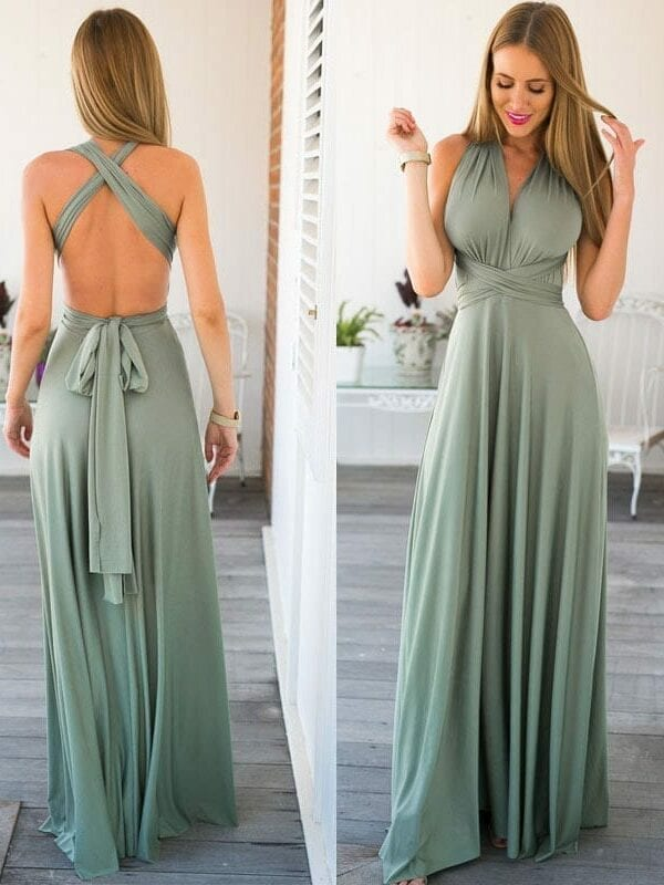 Bandage Long Sexy V-neck Dress