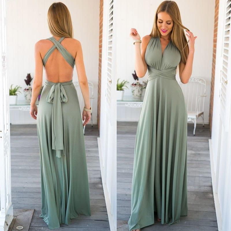 Bandage Long Sexy V-neck Dress