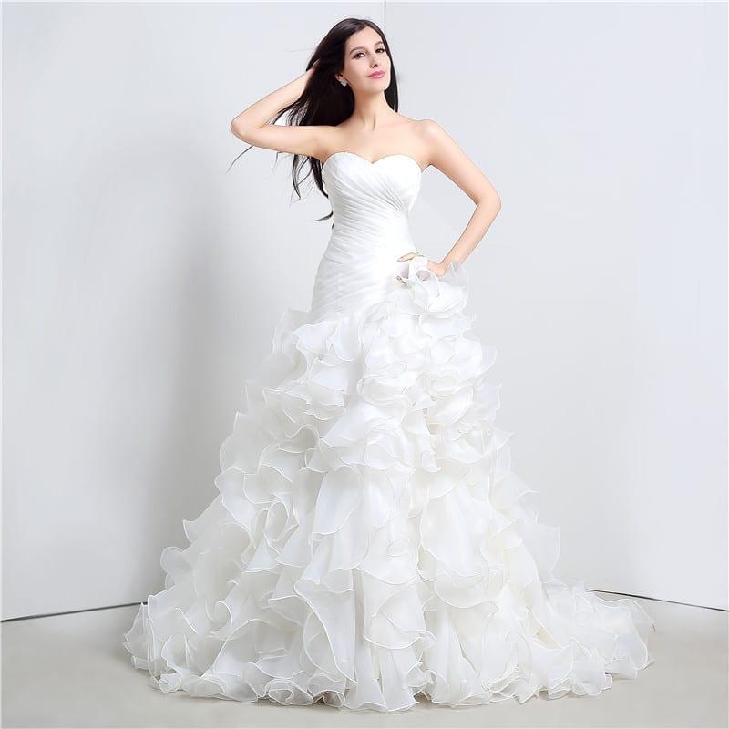 Sweetheart Cascading Ruffles Mermaid Wedding Dress - Uniqistic.com