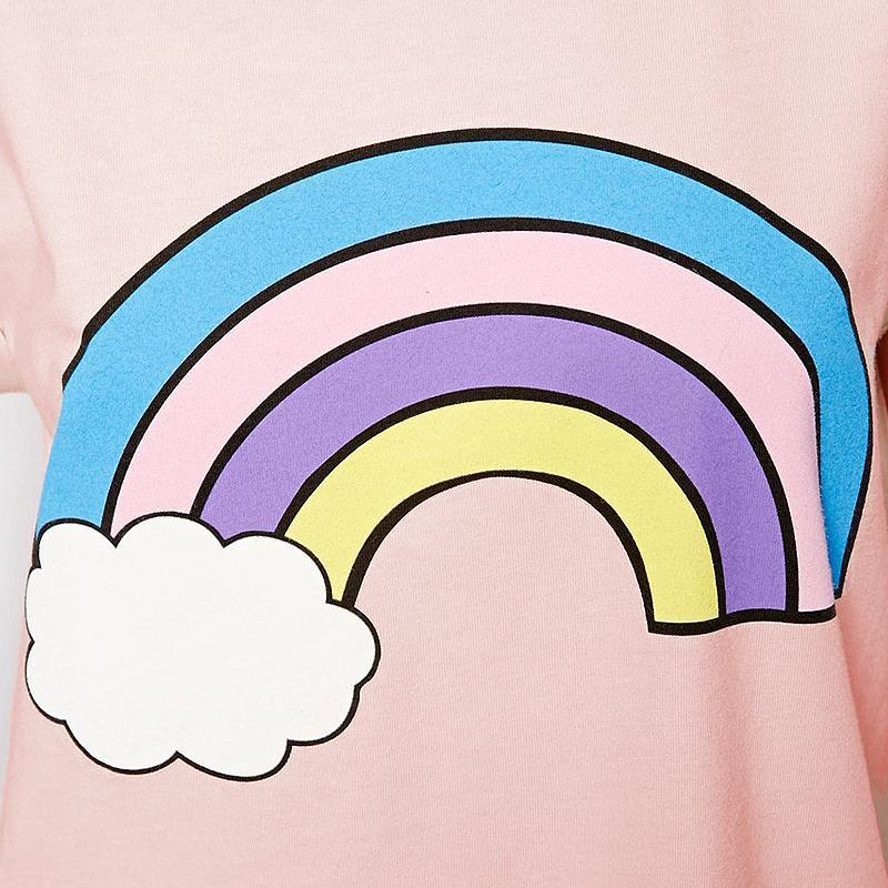 Rainbow Print Cotton Cute Pink T-shirt