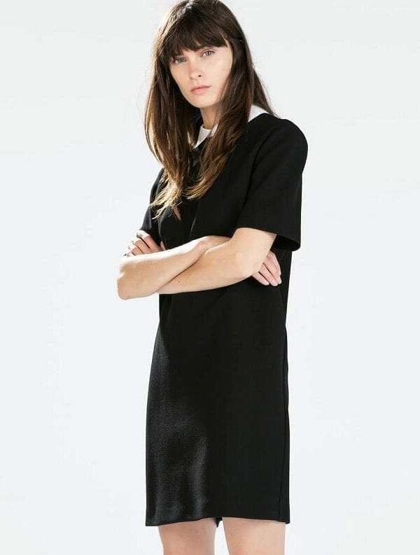 Turn-down Short Sleeve A-line Dress