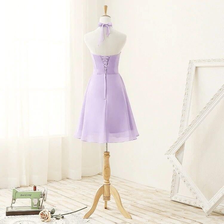 Elegant strapless knee length chiffon lilac bridesmaid dress