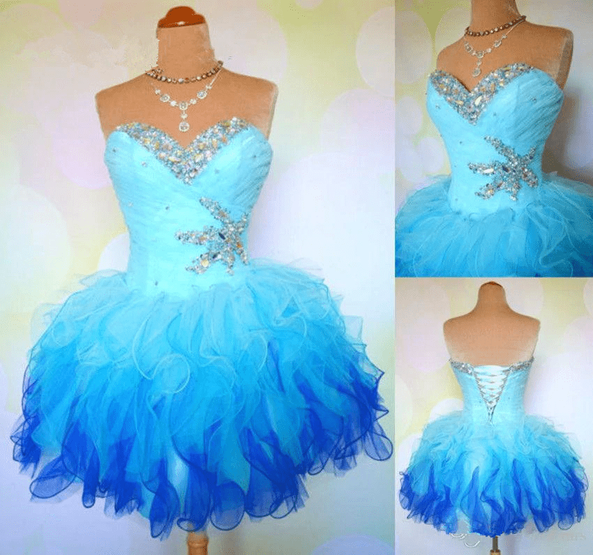 Sweetheart Colorful Crystal Beaded Ruffles Organza Short Prom Dress 3