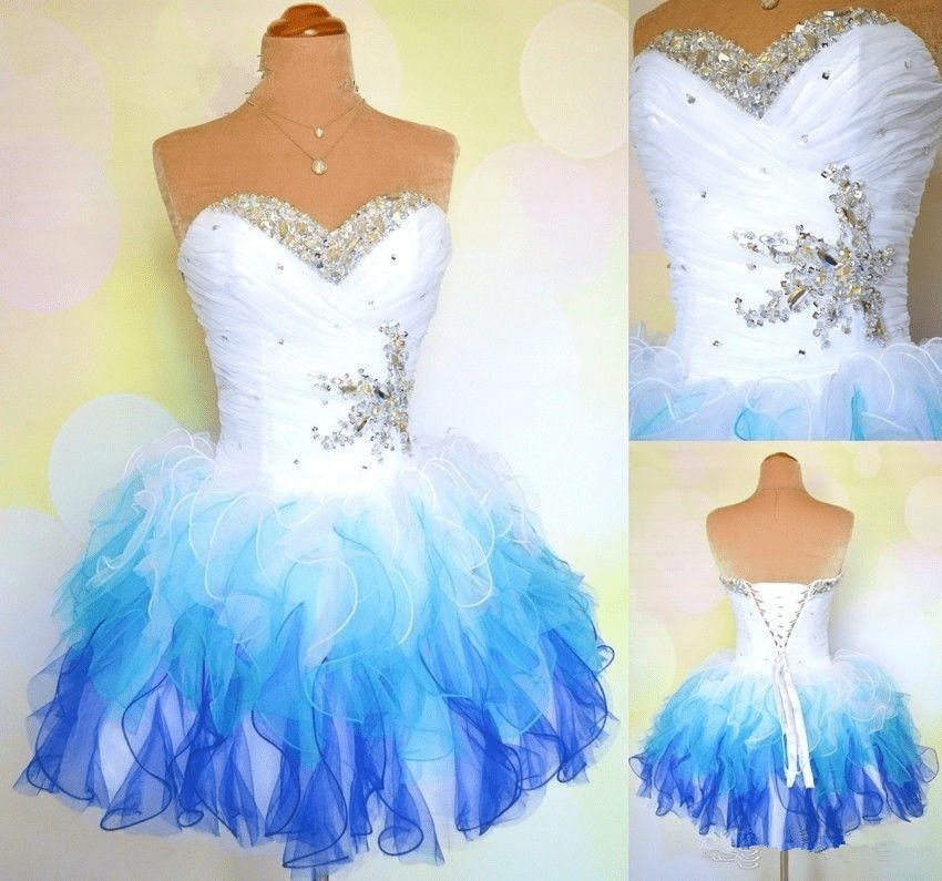 Sweetheart Colorful Crystal Beaded Ruffles Organza Short Prom Dress 4