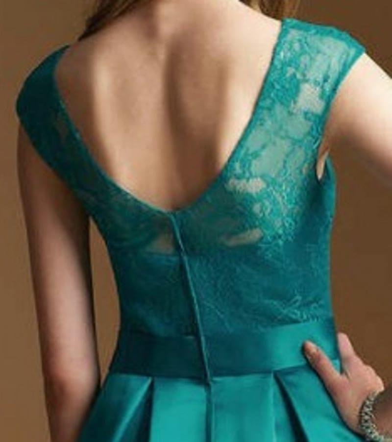 A-line Illusion Neckline Knee Length Cap Sleeve Satin Lace Bridesmaid Dress