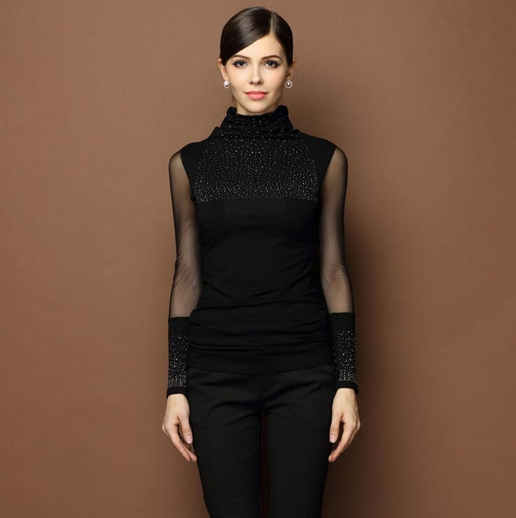 Black Sexy Turtleneck Diamond Design Perspectivity Elastic Turtleneck Sweater