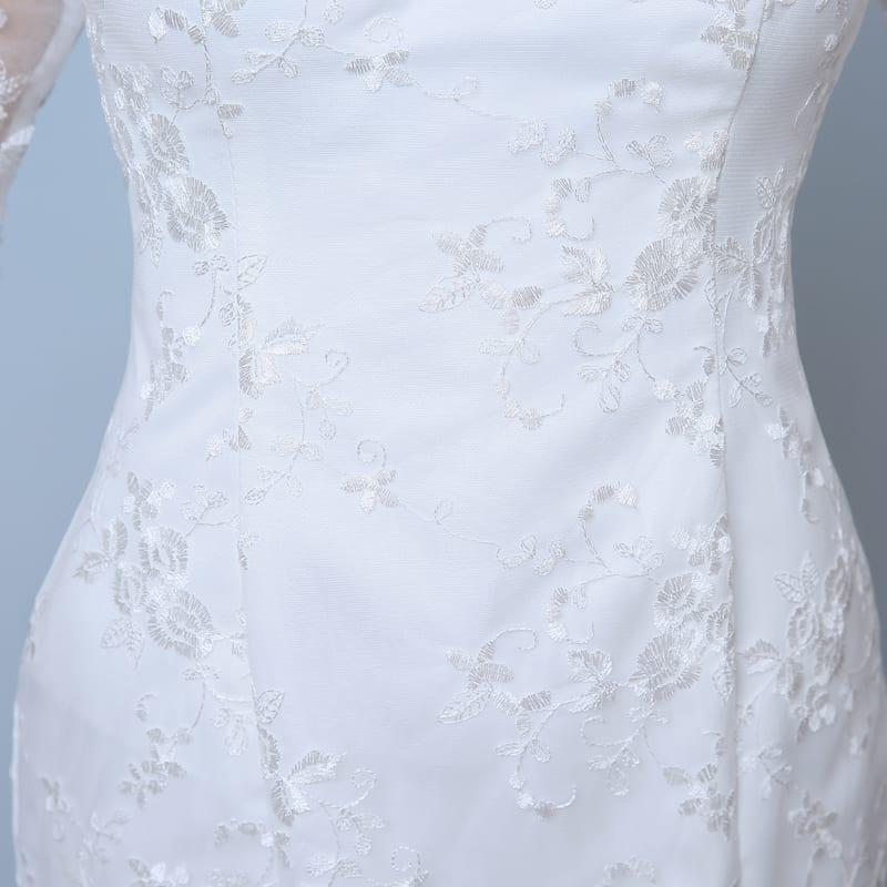 Elegant three quarter sleeve floor length train lace for Lace three quarter sleeve wedding dress