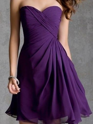 A Line Sweetheart Pleats Purple Chiffon Knee Length Bridesmaid Dress