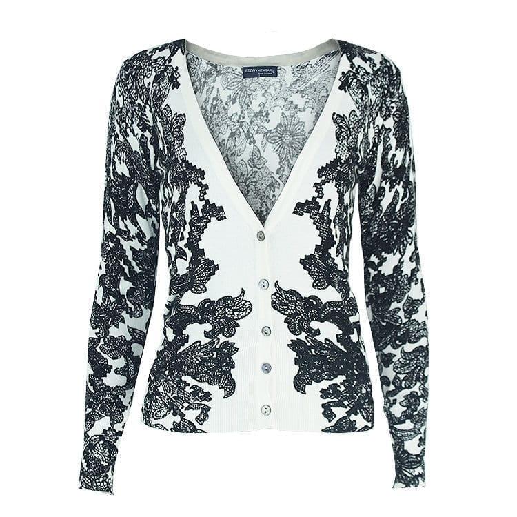 V-neck Long-sleeved Knitted Cardigan