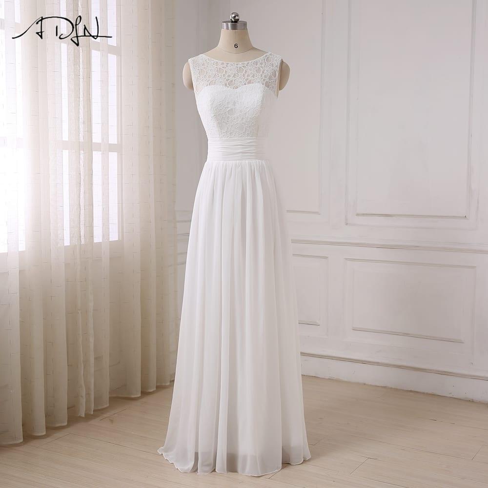 Simple Elegant Tea Length Chiffon Cap Sleeve Wedding: Elegant Chiffon Beach Wedding Dress