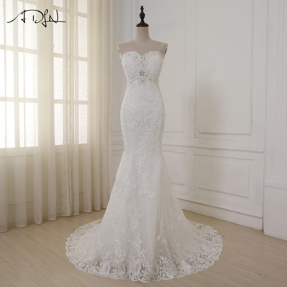 Sweetheart Beaded Sequins Lace Applique Mermaid Wedding Dress