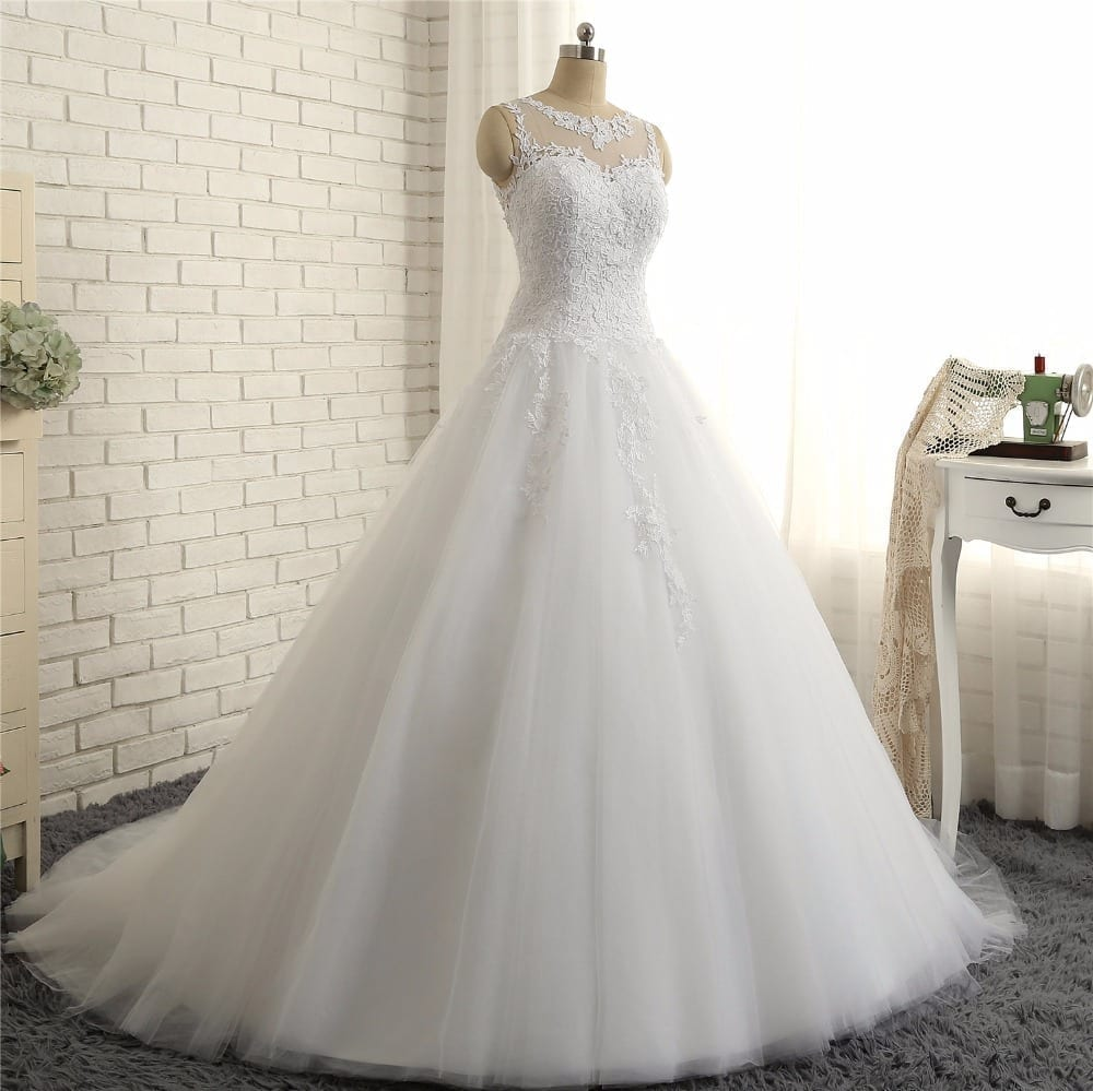 Beautiful Sleeveless Sheer Back Lace A-line Wedding Gown