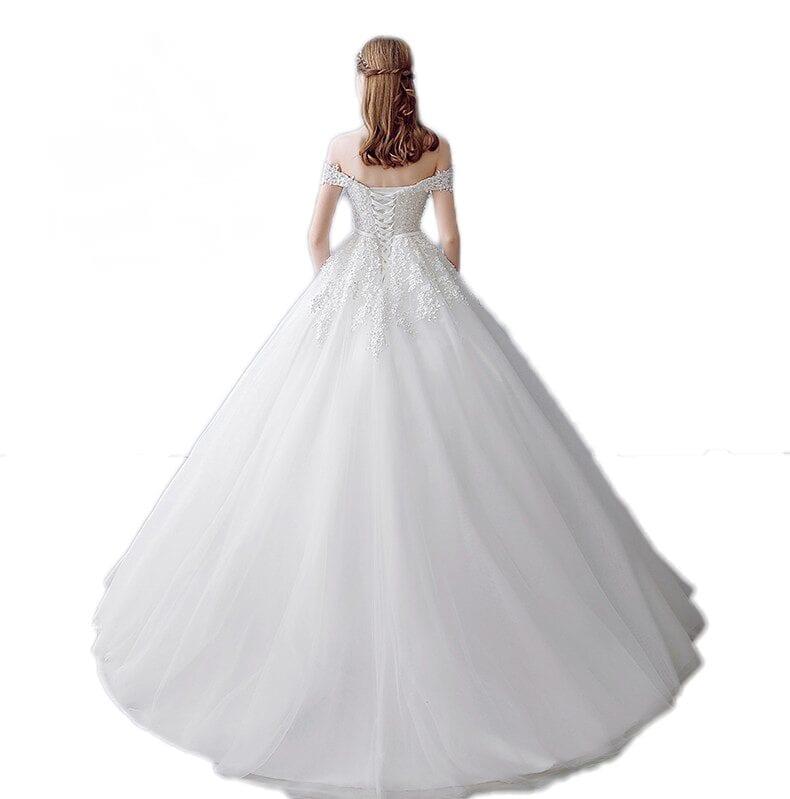 Three quarter sleeve boat neck wedding gown for Three quarter wedding dresses