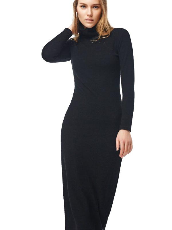 Long sleeve turtleneck long maxi winter dress for Long sleeve turtleneck wedding dress