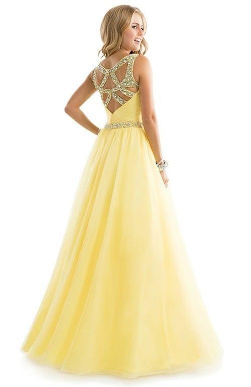 Sexy Hollow Back Yellow Chiffon Spaghetti Strap Long Prom Dress