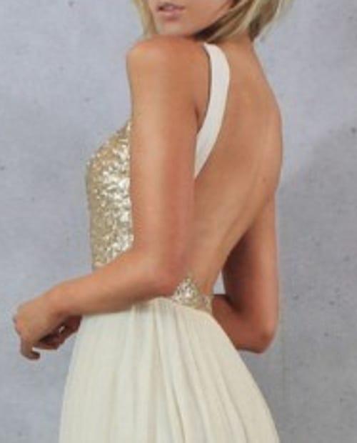 Charmming Short Chiffon Champagne Gold Sequin Bridesmaid Dress