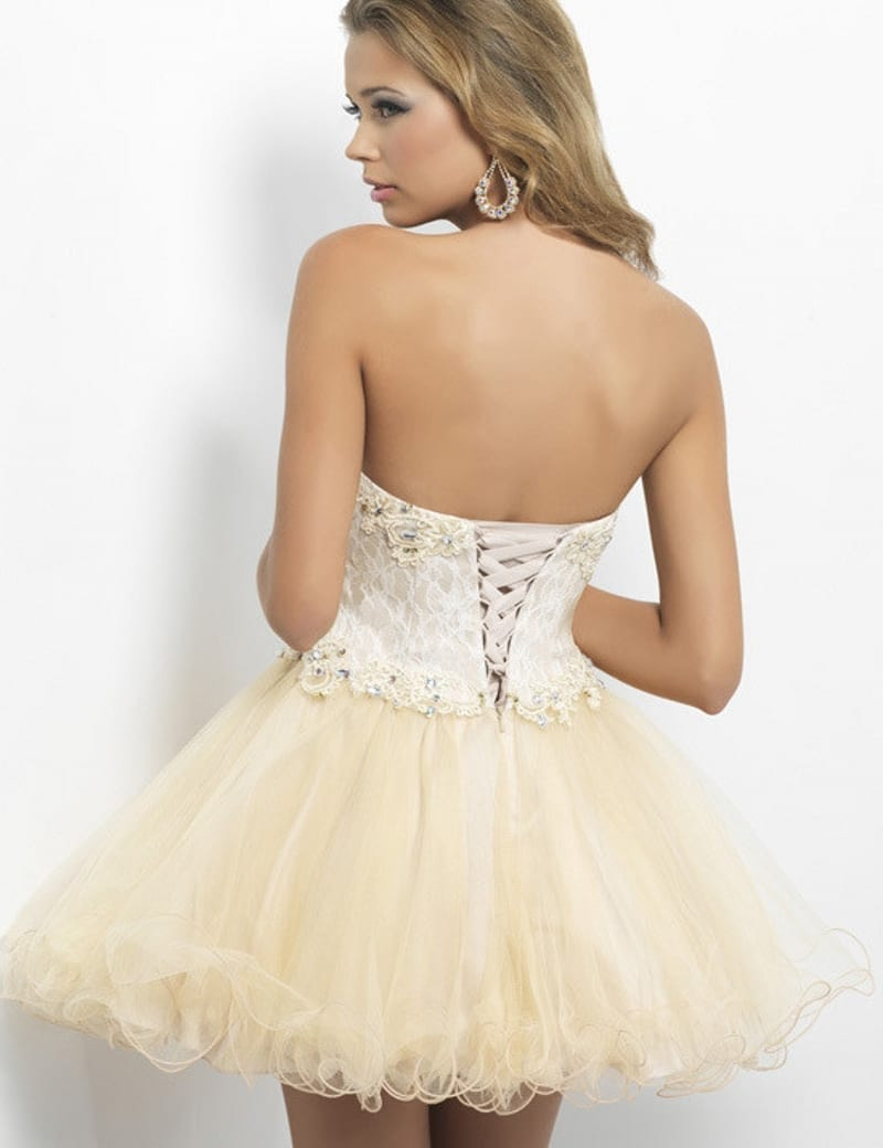 92de961a50e Elegant Lace Appliques Sweetheart Bodice Corset Short Champagne Tulle Dress