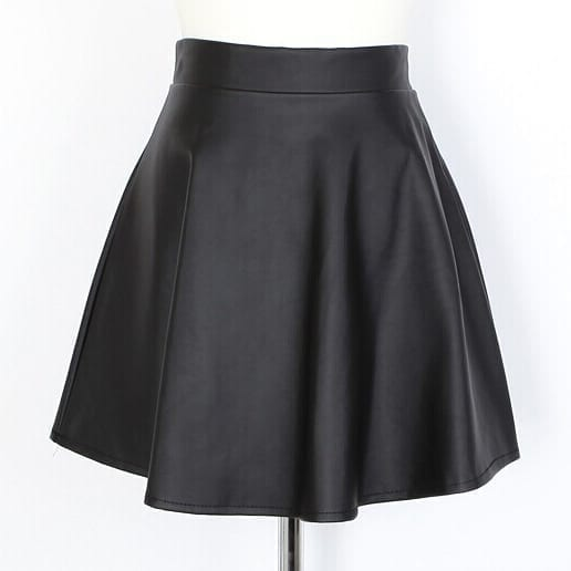 Pu Leather Pleated A-line Mini Skirt