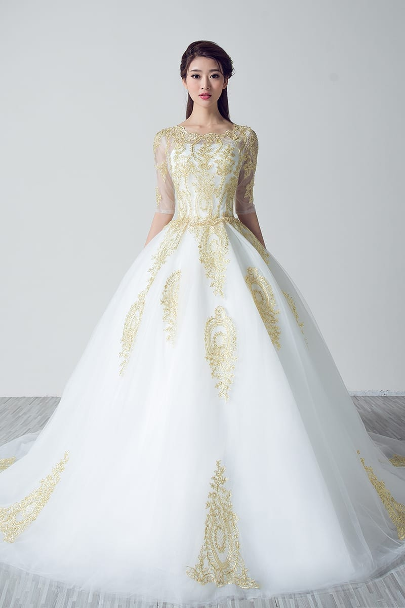 White Wedding Dresses With Gold Lace Applique