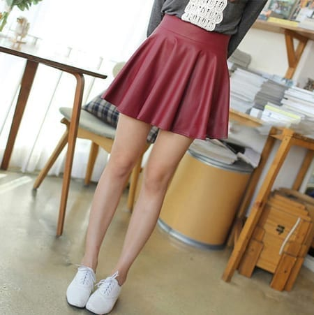 Pu Leather Pleated A-line Mini Skirt